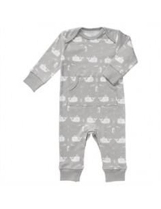 Pyjama ss pieds Fresk coton Bio - Whale Dawn Grey - 3-6 mois