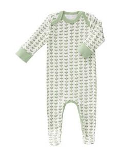 Pyjama coton bio avec pied - Leaves Mint