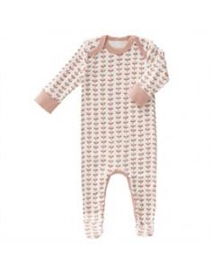 Pyjama coton bio avec pied - Leaves Mellow Rose