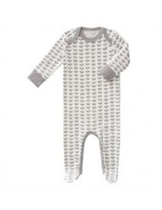 Pyjama coton bio avec pied - Leaves Grey
