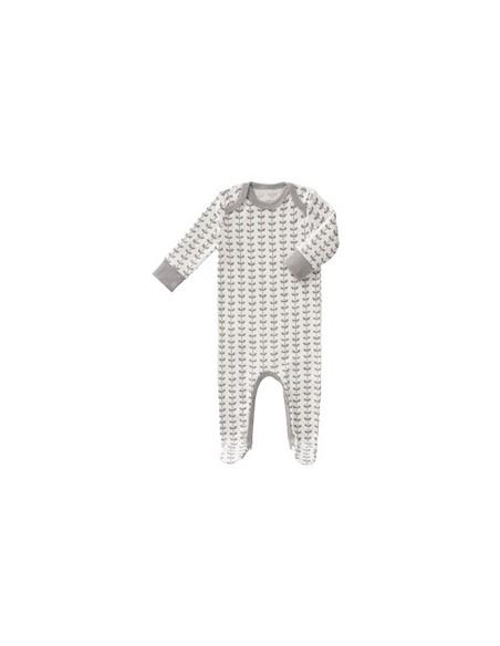 Pyjama avec pieds Fresk coton Bio - Leaves Grey