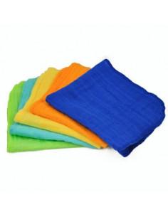 Débarbouillette Visage en mousseline bio - Multicolore
