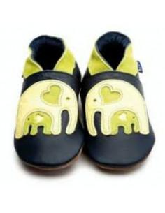 Chaussons en cuir 30-32 - Elephant bleu