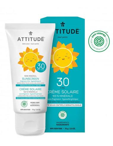 Crème solaire bio sans parfum FPS30 - 75g