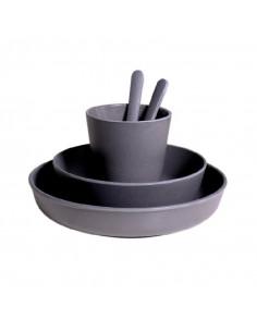 Set vaisselle bambou - Gris foncé