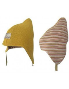 Bonnet hiver réversible en laine - Moutarde/multicolore