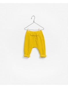 Pantalon mousseline coton Bio - RUSTIC YELLOW 12M