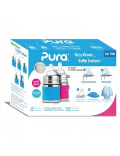 Starter set Biberon inox Pura 150 ml - Pink Aqua