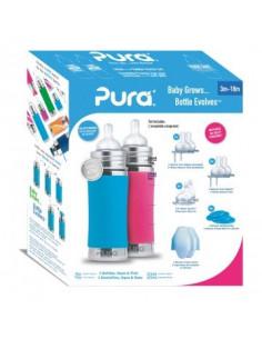 Starter set Biberon inox Pura 325 ml - Pink Aqua