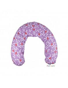 Housse coton bio pour coussin d'allaitement - Leaves Violet