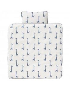 Housse couette coton bio 100x135 - Giraf Indigo Blue