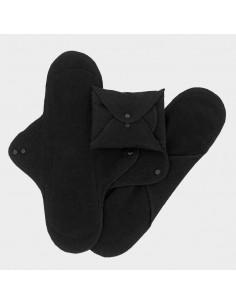 Serviette hygiénique Nuit coton bio (3pc) - Black