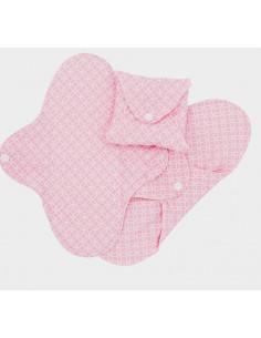 Serviette hygiénique Regular Slim coton bio (3pc) - Pink Halo