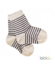 Chaussettes en coton bio T.19/22 - Ecru rayé gris