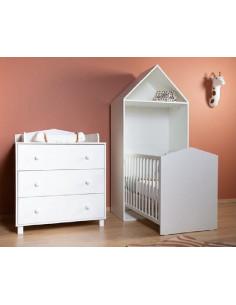 Chambre bébé 3pces CABIN WHITE - Lit évolutif 70X140cm