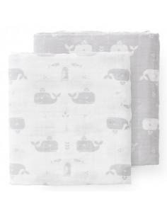 Tetra coton bio 60x70cm - Whale dawn grey