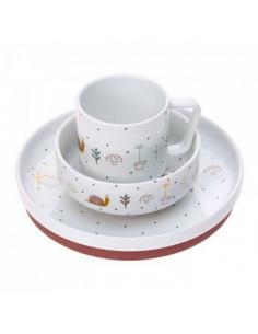Coffret repas porcelaine - Garden explorer brique