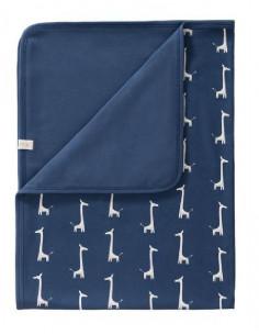 Couverture coton bio 80x100 - Giraf indigo blue