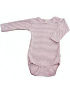 Body coton bio manche longue 62-68 - Ligné rose