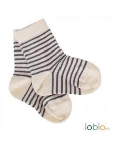 Chaussettes en coton bio T.23/26 - Ecru rayé gris