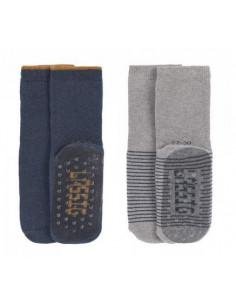 Chaussettes anti-dérapantes coton bio 19-22 - Blue