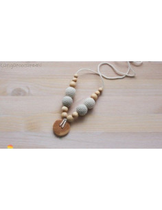 Collier d'allaitement 100% Organic Cotton Necklace / Juniper Wood