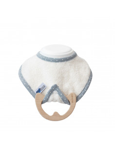 Bavoir avec anneau de dentition bois - Ecru