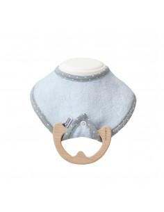 Bavoir avec anneau de dentition bois - Bleu