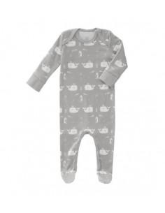 Pyjama coton bio avec pied 0-3m - Whale dawn grey
