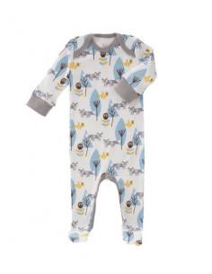 Pyjama coton bio avec pied 0-3m - Fox blue