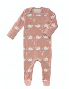 Pyjama coton bio avec pied 0-3m - Whale mellow rose