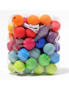 Perles à enfiler en bois - 60 pièces