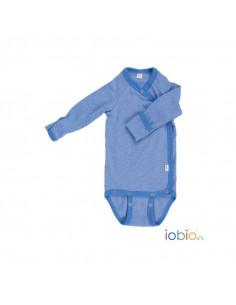 Body croisé coton bio manche longue 50-56 - Bleu