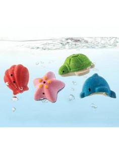 Set de bain en bois - Animaux marins