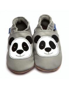 Chaussons en cuir 6-12mois - Panda Grey