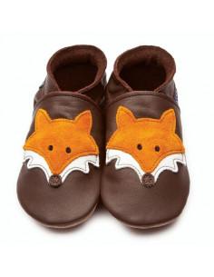 Chaussons en cuir Gripz 12-18mois - Mr Fox Chocolate