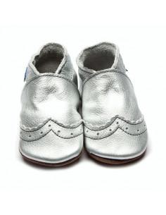 Chaussons en cuir 0-6mois - Brogue Metallic Silver