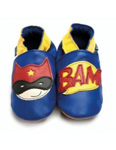 Chaussons en cuir 0-6mois - Superhero Cobalt