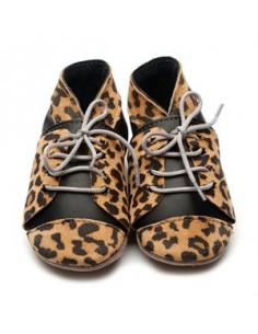 Chaussons en cuir 6-12mois - Baker Leopard/Black