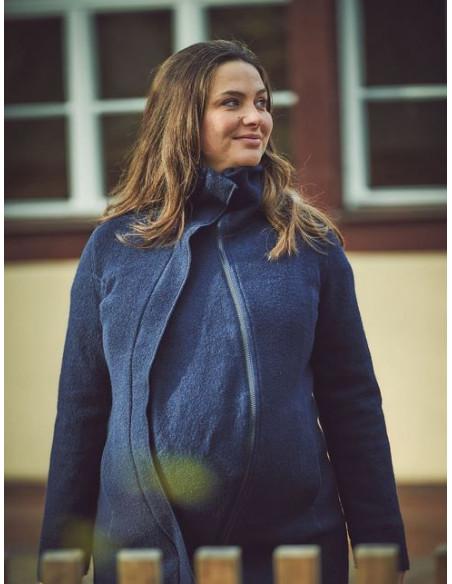 Manteau laine bio doublée coton bio + membrane coupe vent - Oslo Navy