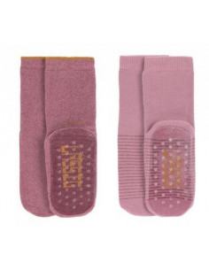 Chaussettes anti-dérapantes coton bio 19-22 - Rosewood