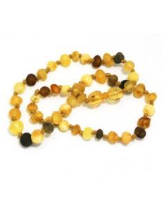 Collier d'ambre - Rond multicolore mat