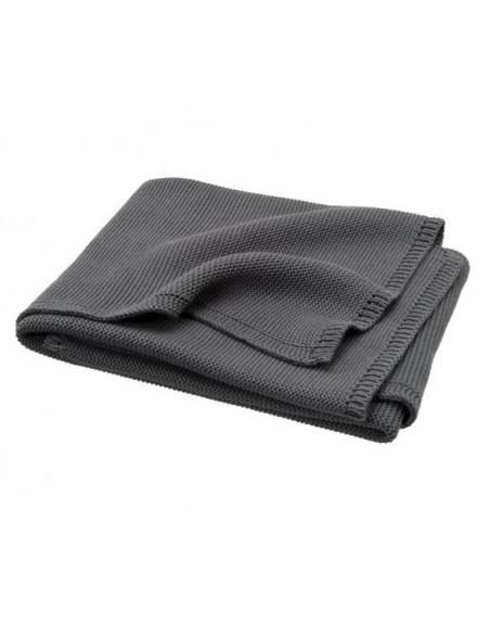 Couverture tricotée bio 80x100 uni - Dark Grey