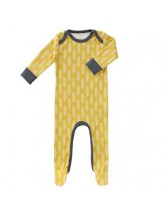 Pyjama coton bio avec pied 6-12m - Havre vintage yellow