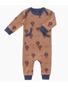 Pyjama coton bio sans pied 0-3mois - Lion