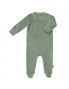 Pyjama velours bio avec pied Nné - Forest green