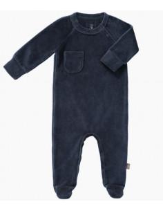 Pyjama velours bio avec pied 0-3m - Indigo