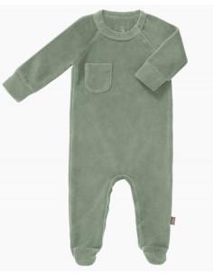 Pyjama velours bio avec pied 6-12m - Forest green