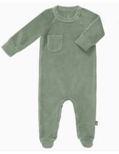 Pyjama velours bio avec pied 3-6m - Forest green