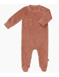 Pyjama velours bio avec pied 6-12m - Ash rose